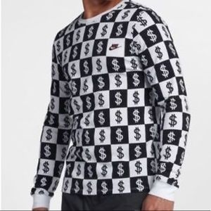 Nike checkered crew neck long sleeve